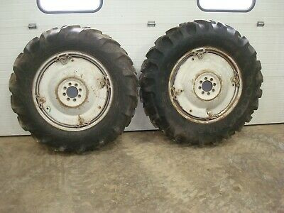 1959 Ford 871 Tractor Power Adjust Spin Out Rims W Tires 13.6-28 Goodyear 800
