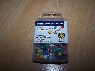 100  Markierungsnadeln  farbig sortiert Pinwandnadeln, Rundkopfnadeln
