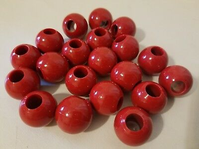 Lot 20 Red Marbella Plastic Acrylic Round Macrame Large Craft Beads 30mm 1-1/4