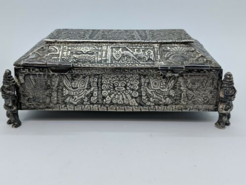 Peru Ornate Tribal Inca Mayan Aztec Sterling Silver Jewelry Box - 401 Grams