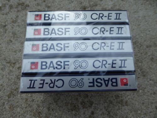 Set of 5 New Sealed BASF 90 CR-E II Blank Cassette Tapes