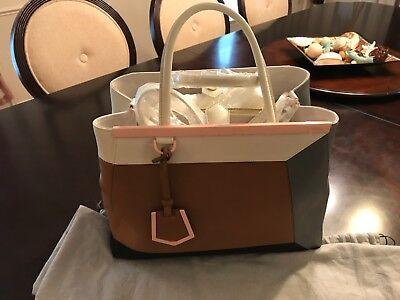 Fendi 2Jours 3D Vitello Colorblock Medium Tote Bag