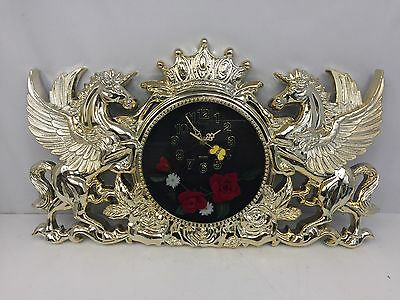 Large Kitsch Silver & Gold Wall Clock W/Unicorns - Flowers - Crown - Butterfly