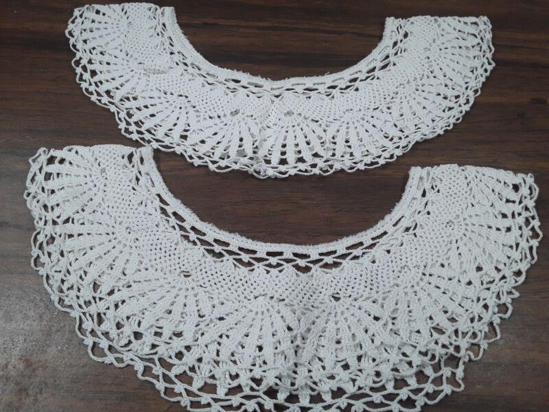 vintage White Crochet Lace Collars (2) handmade Circle shapes Matching pattern