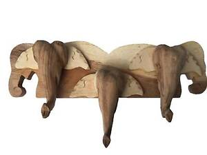 Carved Wood tree Elephant Head Shaped Wall Hanger Panel Hook Bankstown Bankstown Area Preview