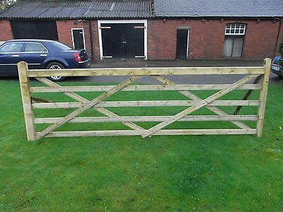 Timber field gate 5 bar planed tanalised finish 12ft (COLLECTION ONLY)