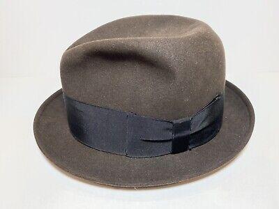 1950s Mens Hats | 50s Vintage Men's Hats Knox Twenty New York Custom Edge Fedora Hat — Vintage 1950's Brown/Black — Sz 7 $65.00 AT vintagedancer.com