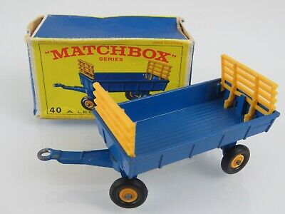 Lesney Matchbox Vntg 1967 #40 Hay Trailer w/Racks Regular Wheels w/Original Box Trailer Hay Rack