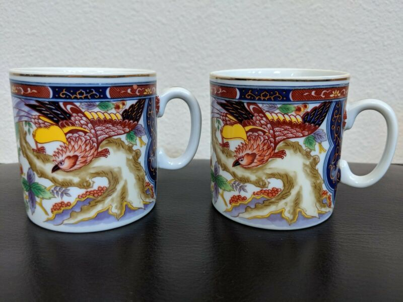 Imari Ware Japan Tea Cups Set Of 2 Porcelain