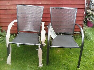 Pair of Bistro Style Stacking Chairs - Ideal City Apartment Balcony, Patio