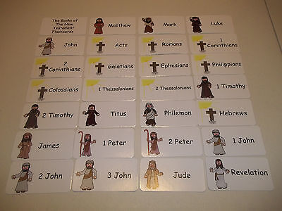 27 Books of the New Testament laminated Bible flashcards.  Christian Educational