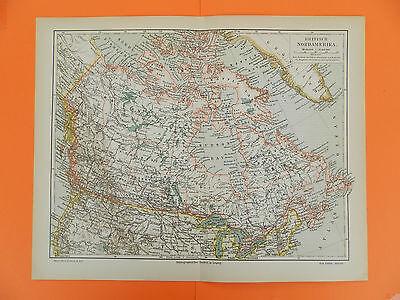 BRITISCH NORDAMERIKA Kanada Hudson Bay Montreal Vancouver Karte LANDKARTE 1905