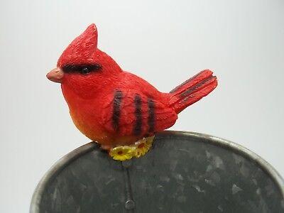 (Flower Pot Statue Sitter Hanger Huggers Robin Garden Yard Red Bird Sz 2 3/4
