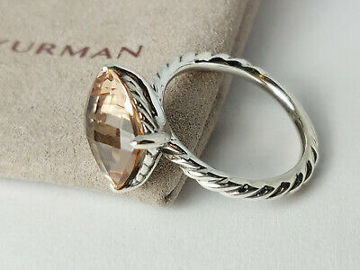 David Yurman Sterling Silver Color Classics Cable Ring with Pink Morganite Sz 7