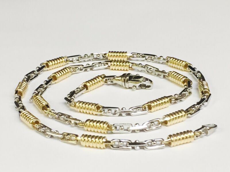 "14k Two Tone Gold Mens Handmade Chain Necklace 24"" 5 Mm. 48 Grams"