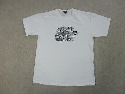 Stussy Shirt Adult Large White Black Spell Out Skater Surfer Streetwear Mens B26