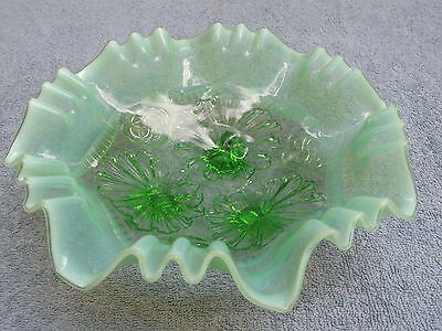 """Antique GREEN OPALESCENT 3-FOOTED BOWL """"Ruffles & Rings"""" by Northwood/ Jefferson"""