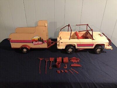 Vintage Barbie 70s Western Barbie Bronco Travelin' Trailer Jeep & Horse Trailer