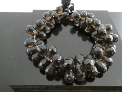Natural Smoky Quartz Faceted Teardrop Briolette Side Drilled Gemstone Bead Std.