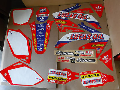 Honda Graphic Number Plate (TEAM HONDA LUCAS OIL GRAPHICS & NUMBER PLATES CRF450 CRF450R 2005 2006 2007 2008 )
