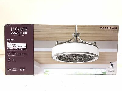 "Home Decorators Windara 22"" LED Indoor/Outdoor Brushed Nickel Ceiling Fan SEALED"
