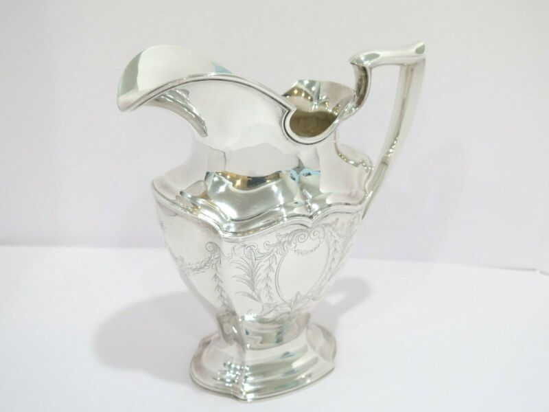 9.75 in - Sterling Silver Reed & Barton Antique Floral Scroll Water Pitcher