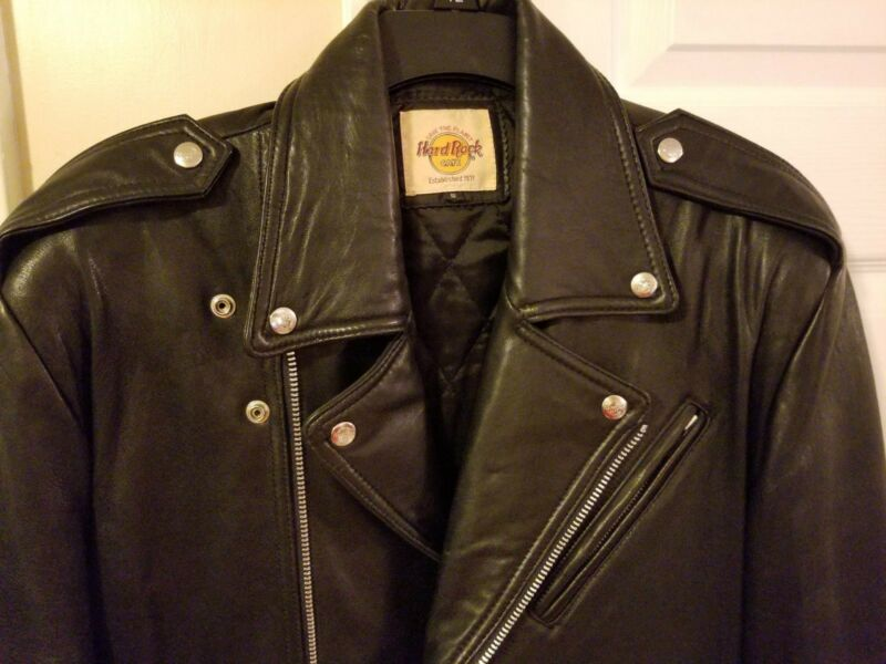 HRC Hard Rock Cafe Leather Motorcycle Zipper Jacket Unworn Atlanta 1994 EC