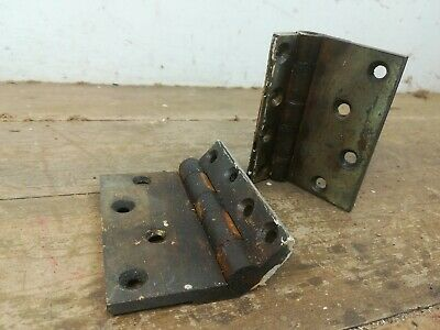 2 Vintage large heavy cast brass Door hinges old reclaimed