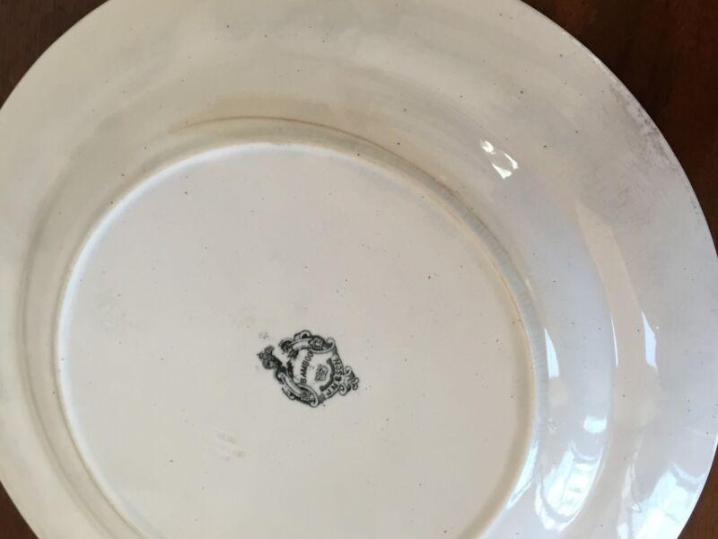 "J Meir & Son BAMBOO 9 ½"" Transferware Aesthetic Movement Plates ~ Set of 6"