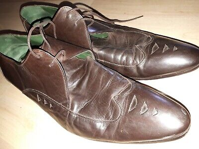 Jeffery West Leather Shoes Mens UK 9 43 lace up Loafers. Brown leather