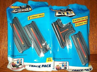 NEW Hot Wheels City Intersection & Straight Track Pack Sealed Unopened Set of 7.