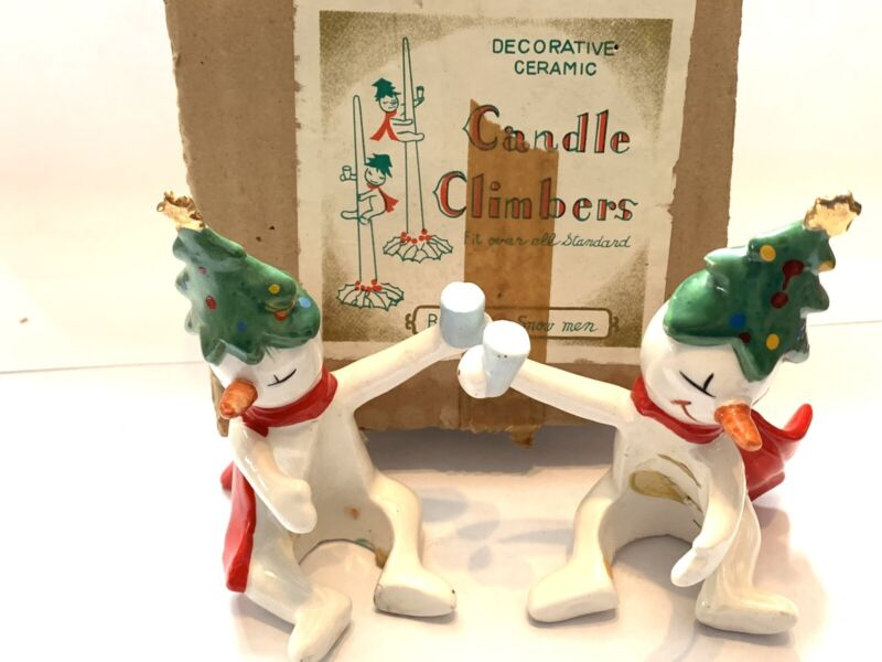 2 Vintage Holt Howard Snowmen Candle Climbers Ceramic in box 6023