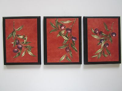 Olives Kitchen Plaques 3 Italian or French Wall Decor Picture Tuscany style red