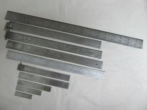 """Lot 10 Vtg Starrett USA Rules Machinist Inspection Measurement Ruler Tool 2""""-18"""""""