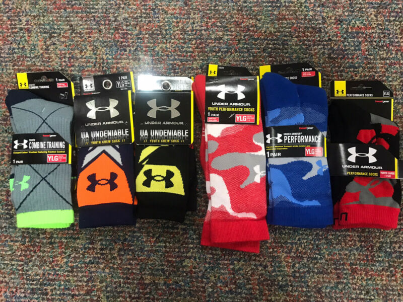 NWT Lot Of 6 Under Armour YLG Socks