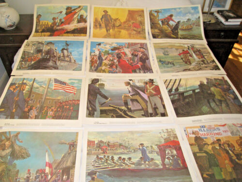 Humble Oil & Refining Refining Company 12 Print Set Columbus Alamo Gold Space