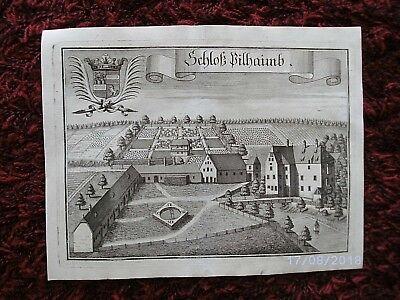 Schloss  PILLHAM / RUHSTORF,  Kupferstich/Ansicht  v: WENING,  1. AUFLAGE ! 1723