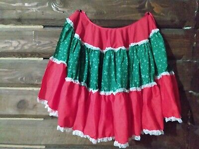 Vintage Handmade Tree Skirt Lace Green Red Snowflake Apron Not Quilted Fabric