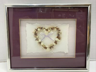 """Dried Silk Flower Heart Wall Hanging Cranberry Matted Silver Framed 10x8"""""""