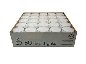 50 Teelichter Acryl Cup Weiß Nightlights transparente Hülle Wenzel Kerzen 8 Std.