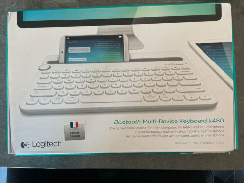 Clavier logitech k480 blanc pour pc mac android ios bluetooth - neuf azerty