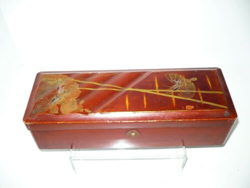 Vintage Hinged Japanese Brown Lacquer Box Hand Painted Butterflies Key Hole