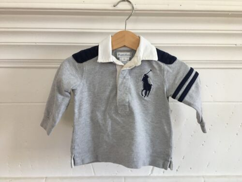 POLO Ralph Lauren Baby Boy Infant Big Horse Long Sleeve Polo Rugby Top Size 6M