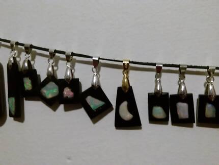 Jet and Opal pendants