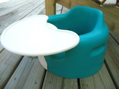 Blue Bumbo Infant Feeding Booster Floor Seat w/ Tray + Lap Restraint Belt