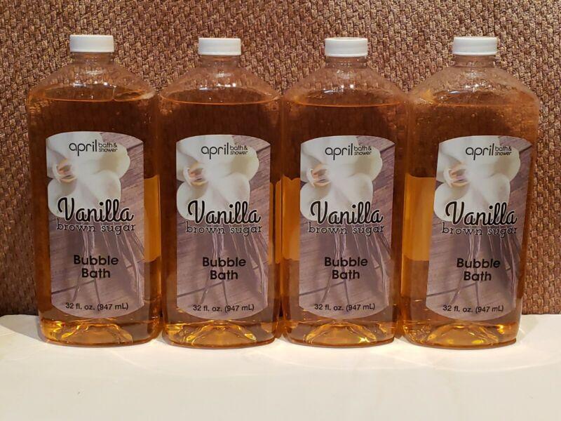 Lot of 4 Vanilla Brown Sugar Shower Bubble Bath, 32 fl.oz. Bottles Free Shipping