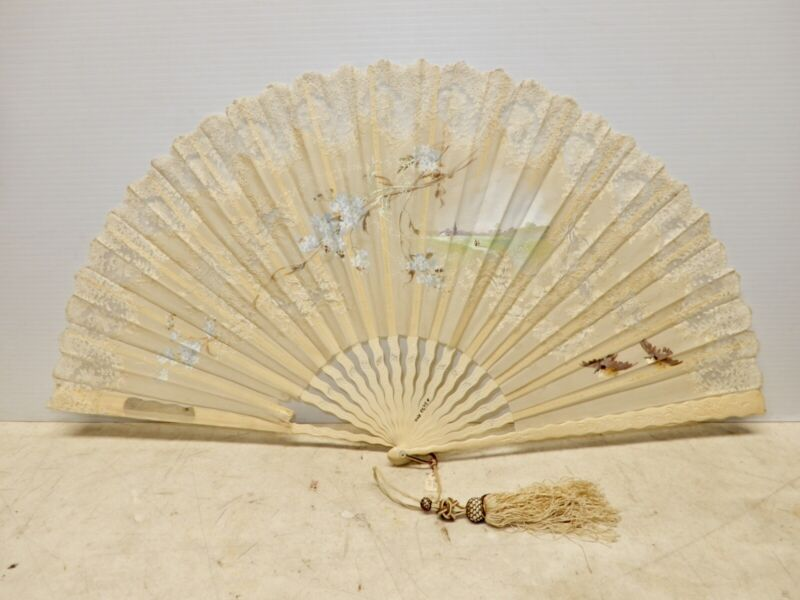 LARGE ANTIQUE HAND FAN BONE AND LACE