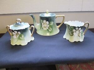 Limoges France Creamer Sugar Dish And Tea Pot Set