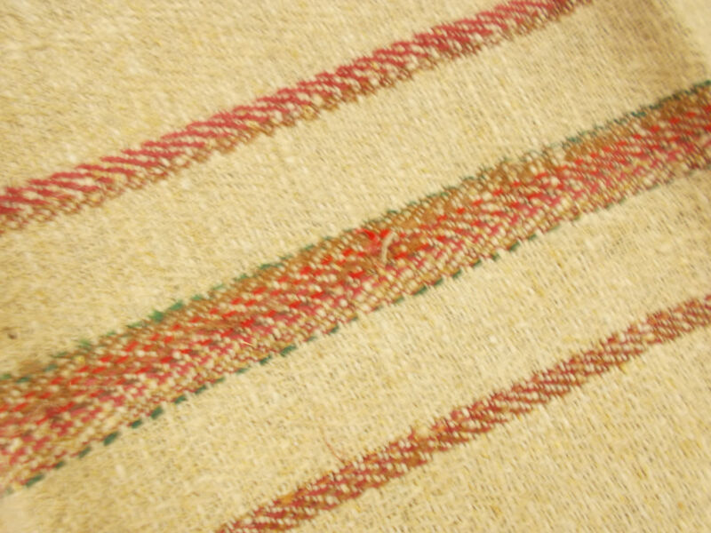 2 Vtg Antique BROWN STRIPE HEMP LINEN King Pillowcase Pair FEED SACKS GRAIN BAG