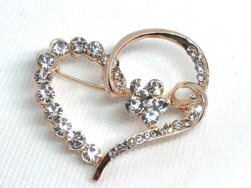 "heart Rhinestone Brooch pin 2""x 2"" GIFT gold tone Christmas gift idea #5"